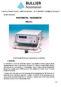 Photomètre Radiomètre Radiometer 211