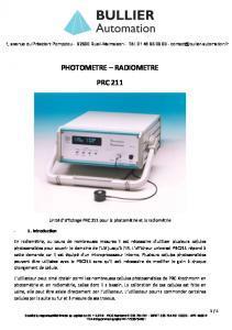 Radiomètre Photomètre Radiometer 211