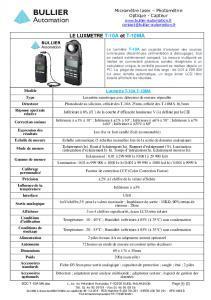 Luxmètre T-10A fiche technique
