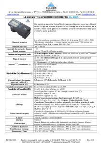 Fiche technique luxmètres CL-500A BULLIER