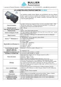 Fiche technique luxmètre CL-500A