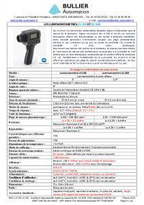 Fiche technique Luminancemètres LS-150 et LS-160 BULLIER