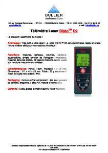 Télémètres Laser LEICA D2 Fiche Technique