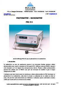 Descriptif des luxomètres RADIOMETER 211