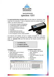 Fiche technique spectrophotomètres SCB 1201