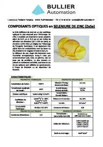 Séléniure de zinc - Composants optiques