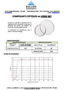 Verre BK7 - Composants optiques