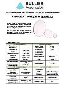 Quartz - Composants optiques